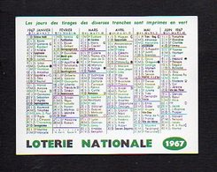 """1967  Calendrier De Poche """"Loterie Nationale""""   >> Jeux De Hasard - Calendriers"""