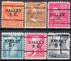 USA Precancel Vorausentwertung Preo, Locals South Carolina, Salley 701, 6 Diff. - Vorausentwertungen