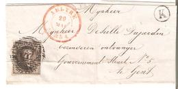 """Pte LSC. De GAND TP. N° 3 (4 Grandes Marges)-léger Pli D'archive P137/AELTRE 20 MAI 1851 Bte """"K"""" RARE - Rural Post"""