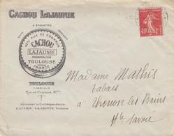LETTRE 1927. CACHOU LAJAUNIE TOULOUSE - Publicités
