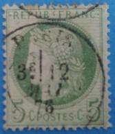 France 1871 : Emission Du Type Cérès Dentelé, IIIe République Vert S Blanc N° 53a Oblitéré - 1871-1875 Ceres