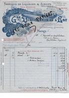 54 - Meurthe-et-moselle - NANCY - Facture DISTILLERIE DE L'EST - Fabrique De Liqueurs Et Sirops - 0000 - REF 90C - France