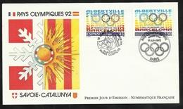 FDC Lettre Illustrée Premier Jour Paris Et Madrid Le 19/06/1992 N° 2760 Et Espagne N°2808 J.O. Barcelone  TB Soldé ! ! ! - Emissions Communes