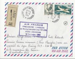 Lettre Air France 1ère Liaison Paris Changhai (19/09/1966) - Moret Sur Loing à Shanghaï - Retour à L'envoyeur - Poststempel (Briefe)