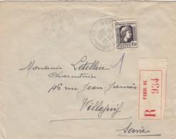 LETTRE. 1944. N° 643 SEUL SUR LETTRE. RECOMMANDÉ PARIS POUR VILLEJUIF - 1921-1960: Periodo Moderno