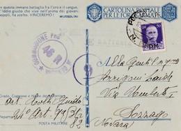 CARTOLINA POSTALE PER LE FORZE ARMATE - F/G - V: 1943 - CENSURA - Guerra 1939-45