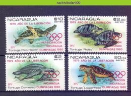 Mmg439 FAUNA REPTIELEN SCHILDPAD VIS * OVERPRINT OLYMPIC GAMES * FISH REPTILES TURTLE SCHILDKRÖTEN NICARAGUA 1980 PF/MNH - Schildpadden