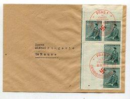 D.Bes.39/45-Boehmen Und Maehren / 1942 / Mi. 86 6er-Block Mit 2 Leerfeldern A.Bf. Roter SSt. Prag (10547) - Bezetting 1938-45