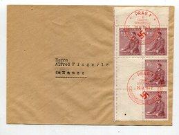 D.Bes.39/45-Boehmen Und Maehren / 1942 / Mi. 87 6er-Block Mit 2 Leerfeldern A.Bf. Roter SSt. Prag (10548) - Bezetting 1938-45