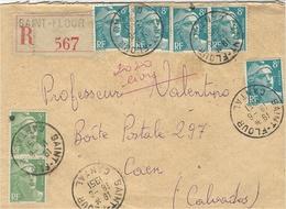 "1951 -enveloppe RECC. De ST FLOUR / CANTAL  , Très Bel Affr. Gandon "" Vert ""  à 50 F. - 1921-1960: Periodo Moderno"
