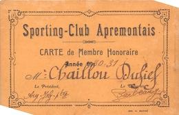 ¤¤  -   APREMONT  -  Carte De Membre Du Sporting-Club-Apremontais  -  Voir Description   -   ¤¤ - France