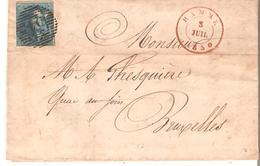 LAC. TP N° 2 (3 Marges)  P/54 HAMME 5 Juillet 1850 V/BXL. Pt. Défaut Sinon TB - 1849 Epaulettes