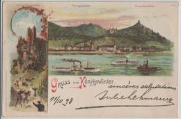 Gruss Aus Köniswinter - Ruine Drachenfels, Dampfer - Litho Lithographie J. Miesler - Koenigswinter