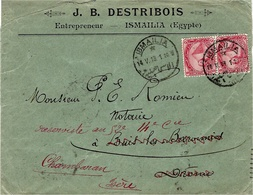 1913- Enveloppe à En-tête  D'ISMAILIA ( Egypte ) Affr. 5 Mill. En Paire  Pour La France - Egypt