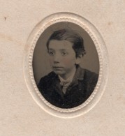 USA? Portrait Jeune Garcon Ancien Ferrotype Miniature Photo 1880's - Photographs