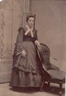 USA ? Portrait De Femme En Pied Lina Whitlock Ancien Ferrotype Photo 1880's - Photographs