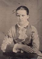 USA ? Portrait De Jeune Femme Ancien Ferrotype Photo 1880's - Photographs