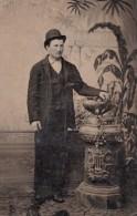 USA ? Portrait Homme En Pied Ancien Ferrotype Photo 1880's - Oud (voor 1900)