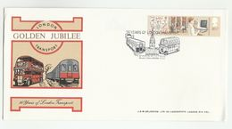 1983 LONDON TRANSPORT JUBILEE - BUS - UNDERGROUND TRAIN - EVENT COVER St Martins London GB Stamps Railway - Bussen