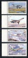 ZAMBIE 1992 N° 562/565 ** Neufs MNH Superbes Avions Planes Service Postal Poste Aérienne Transports - Zambia (1965-...)