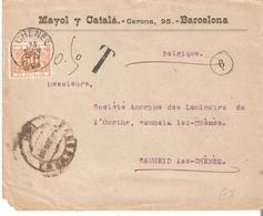 L. Non Affr.de BARCELONE TTx. 8 CHENEE 15/6/1899. Dos Ambt. QUIEVRAIN-BRUXELLES Côte COB 100€ - Postage Due
