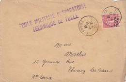 LETTRE. 1927. N° 224 SEUL SUR LETTRE. ECOLE MILITAIRE PREPARATOIRE TECHNIQUE DE TULLE  POUR THONON / 1232 - Marcophilie (Lettres)