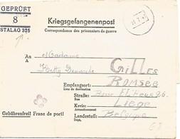 BELGIQUE Formulaire Prisonnier Belge Stalag Disciplinaire 325 RAWA-RUSKA (Petite Fleur = Dépendance LEMBERG) 1943 - WW II
