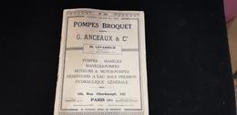 Catalogue POMPE BROQUET G ANCEAUX & Cie M LEVASSEUR Succ 121 Rue Oberkampf PARIS Arrosage Incendie Pompier Agriculture - Bricolage / Technique