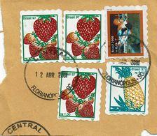 Brazil , Bresil , Brasil , 1997 , 2000 , Fruits  ,  Abacaxi , Papaia , Skate , Florianapolis Postmark - Skateboard