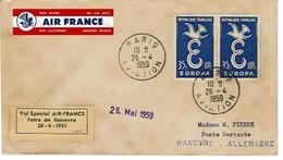 Paris Hanovre Vol Special Foire 1959 Air France Etiquette Airmail Luftpost Aereo Liaison Aerienne Viscount Bgno - Luftfahrt