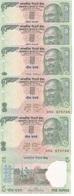 India - 10 Pcs X 5 Rupees 2002 Nd P. 88Ab UNC Ukr-OP - India