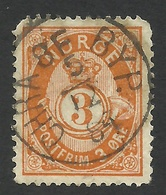 Norway, 3 O. 1883, Sc # 38a, Mi # 35, Used. - Usati