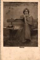 REVERIES FEMME SUR UN BANC  J. CORCOS - Peintures & Tableaux