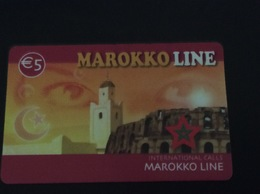 Rarer Prepaid Card  Marrokko Line  5 Euro - Building    - Used - [2] Mobile Phones, Refills And Prepaid Cards