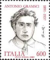 ITALIA REPUBBLICA ITALY REPUBLIC 1987 ANTONIO GRAMSCI DISEGNATO DA GIACOMO MANZU' MNH - 1946-.. République