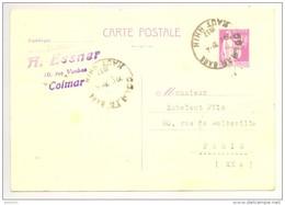 Carte Postale - Entier Postal - Type Paix 40c - 1937 - Colmar Gare - Tampon Maison A. ESSNER - Postales Tipos Y (antes De 1995)