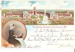 CP. Couleurs EXPO 1897 TP. N° 73 Cad BRUXELLES/EXPOSITION Du 19 MAI V/DUREN (All.)TB - 1894-1896 Ausstellungen