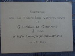 FAIRE PART DE PREMIERE COMMUNION GENEVIEVE ET GERMAINE JUGLAR EGLISE ST JACQUES DU HAUT PAS 22 MAI 1924 - Communion