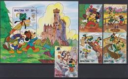 """2115 Walt Disney BHUTAN  ( INTERNATIONAL YOUTH YEAR 1985 )  """" MARK TWAIN """" - Disney"""