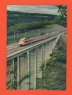PL/6 TGV PARIS SUD EST DEUX RAMES SUR LE VAIDUC DE LA DIGOINE AU NORD DE MONTCHANIN PHOT SNCF CAV S N C F HENRI / Train - Treinen