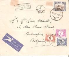 "L. AVION AFRIQUE Du SUD 1sh.Yvert.34 TTx. 48-60-63 ANTWERPEN 26/12/51 Gff ""Over1/2OZBO1/2Ons"" - Postage Due"