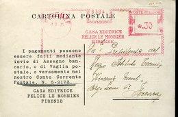 34923 Italia, Red Meter/freistempel/ema/1935 Firenze Casa Editrice Felice Le Monnier , Circuled Card - Machine Stamps (ATM)