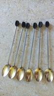 6 Longues Petites Cuillères Metal Doré Café Mazagran - Deco GRAIN DE CAFE Plastique - 16cm - Spoons