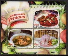 PERU, 2017, MNH, PERUVIAN GASTRONOMY, CEBICHE, SEAFOOD, SOUPS,  SHEETLET - Food