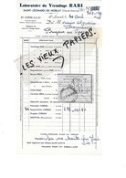 87 - Haute-vienne - ST-LEONARD-DE-NOBLAT - Facture GERALD - Laboratoire Du Vermifuge RABI - 1940 - REF 90D - 1900 – 1949