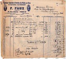 VP12.302 - Facture - Fabrique Spéciale D'Articles De Pêche En Gros P. PAUX à PARIS - France