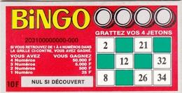 FDJ BINGO CARTONNE UNIFACE FRANCE LOTO PUBLICITÉ SUR LES LIEUX DE VENTE 10,4X6cm - NOTRE SITE Serbon - Billets De Loterie