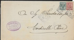 STORIA  POSTALE REGNO - ANNULLO TONDO RIQUADRATO BRESCIA16.10.1905 SU PIEGO PER CORTICELLA PIEVE - Storia Postale
