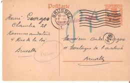 EP. Occ. 10 BRUSSEL 1 Du 17/3/1918 De La Prison Kdtur Rue De La Loi V/BXL - Censure Gffe Rouge Et Paraphe - Weltkrieg 1914-18