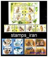 WWF Issue From Iran (Siberian Crane , Cheetah , Owls Set + Sheet ) - W.W.F.